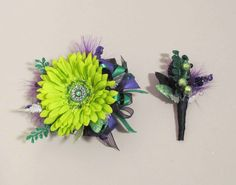 cool prom corsage   Prom Wrist Corsage & Boutonniere set, with Lime Green Gerbera Daisy ...