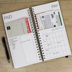 Office: DATED bills calendar. blue. $32.00, via Etsy.