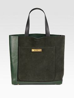 Suede & Leather Bicolor Tote Bag - Zoom - Saks Fifth Avenue Mobile