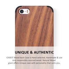 iCASEIT iPhone SE / 5S / 5 Wood Case | Walnut / Black