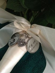 Bridal bouquet charms. Would love to use pictures of the my parents, grandparents, and great aunt/uncles...they all had long healthy marriages that withstood time...
