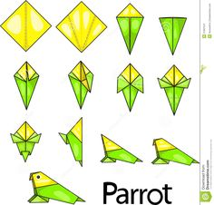 Origami bird folding - importance of the most popular bird species and more idea. Origami b. Origami Parrot, Instruções Origami, Origami Paper Folding, Origami Yoda, Origami Artist, Origami Star Box, Origami Dragon, Origami Fish, Paper Crafts Origami