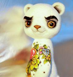 Vilten speelgoed knorrige Beer van LelilioShop op Etsy