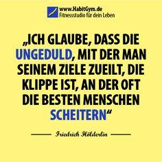 Zitat Fokus und Konzentration – Friedrich Hölderlin - Ich glaube, dass die Ungeduld, mit der man seinem Ziele zueilt, die Klippe ist, an der oft die besten Menschen scheitern.