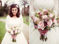 Pale pink wedding bouquet for this 50's elegant retro inspired bride. http://www.rebeccaweddingphotography.co.uk/