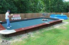 I said I wanted a 'bigger' pool ' in the backyard. Not a 'pool table'! Lawn Games, Backyard Games, Outdoor Games, Outdoor Fun, Backyard Ideas, Outdoor Bowling, Backyard Parties, Garden Games, Backyard Retreat