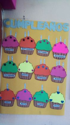 تعزيز Preschool Birthday, Classroom Birthday, Classroom Themes, School Classroom, Birthday Wall, Birthday Board, Preschool Block Area, School Library Decor, Cupcake Crafts