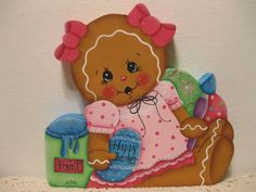 HP Gingerbread Easter ginger girl SHELF SITTER hand painted USA