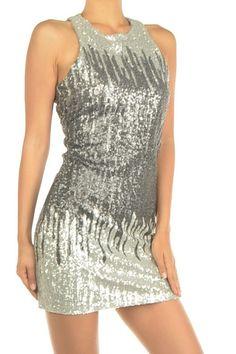 Silver Screen Siren Sequin Dress - Silver + Multi
