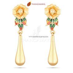Gold Designer Earrings Designs 2017, 22K Gold Designer Floral Earrings Model 2016, Gold Designer Earrings Collection.