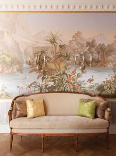 """De Gournay's """"Le Bresil"""" hand painted scenic paper. Yes."""