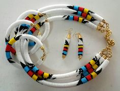 African necklace, Zulu necklace, Maasai Beaded Necklace with matching earrings,Yellow bead necklace Diy African Jewelry, African Accessories, African Necklace, Fabric Earrings, Wooden Earrings, Fabric Jewelry, Wire Earrings, Rope Jewelry, Beaded Jewelry