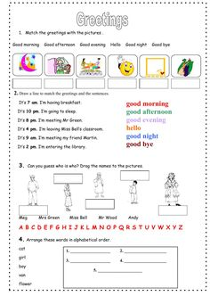English worksheet greetings and farewells ingls pinterest greetings interactive and downloadable worksheet you can do the exercises online or download the worksheet m4hsunfo