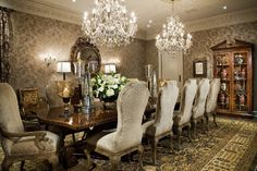 Attractive Bellora Chandelier Decorating Ideas in Dining Room Traditional design ideas with Attractive area rug chandelier china cabinet crown molding dark stained wood formal oriental