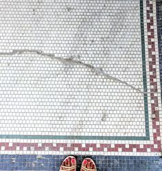 Many of the storefronts in the historic Chicago neighborhood of still have the original mosaic tiles greeting its patrons. Mosaic Tiles, Mosaics, Chicago Neighborhoods, Store Fronts, Tile Patterns, The Neighbourhood, Flooring, The Originals, Walls