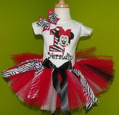 *Girls Wild Minnie Mouse Red Zebra Number Quick Ship Tutu Set