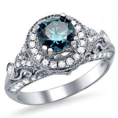 1.35ct Blue Round Diamond Engagement Ring 14k White Gold Vintage Style
