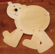 Polar Bear, polar Bear, what do you see. Walking polar bear craft using a paper plate Bear Crafts, Animal Crafts, Art For Kids, Crafts For Kids, Paper Plate Crafts, Paper Plates, Classroom Crafts, Classroom Fun, Winter Fun