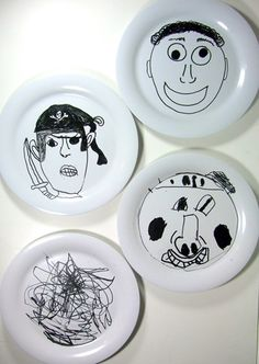 Use porcelain paint pens. Let the paint dry for 24 hours, then baked them for 35 minutes in a 300 degree oven. Have fun!