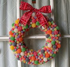 Gum drops wreath love the different sized gumdrops  cannot imagine using one of these on the door, would be very heavy