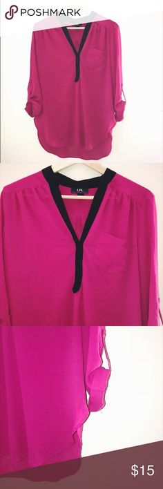 PINK TUNIC Only worn once super cute with black lining and roll up sleeves I.N San Francisco Tops Blouses