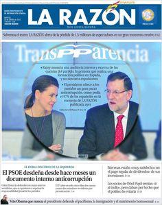 Los Titulares y Portadas de Noticias Destacadas Españolas del 22 de Enero de 2013 del Diario La Razón ¿Que le parecio esta Portada de este Diario Español?