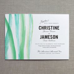 Brushstroke Watercolor Wedding Invitation