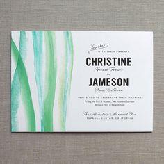 Brushstroke Watercolor Wedding Invitation by finedaypress on Etsy, $50.00