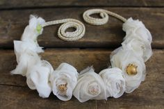 Adjustable flower crown with braided ties and beading. Boho Bridal Flower Crown  Kerry Ann Stokes