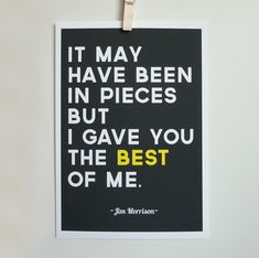 Jim Morrison Quote Print The Best of Me Gray Typography Poster A4 Archival Print. $20.00, via Etsy.