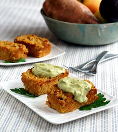 Individual Veggie-Lentil Loaves with Avocado-Tahini Sauce