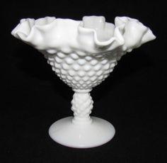 Vintage Mid Century FENTON Hobnail Footed Flared Vase or Candy Bon Bon Dish