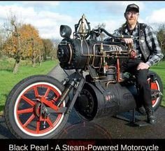 """BLACK PEARL"" Steam Powered Motorcycle"
