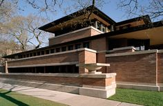"""Closer to downtown Chicago then Wright's Oak Park home and studio, the Robie House (1908–1910) is another example of the """"long and low"""" Prairie style that would become a hallmark of Wright's career."""