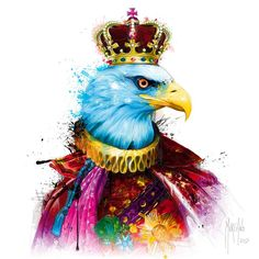 Gallery Wrapped Canvas: Aigle Royal by Patrice Murciano : Murciano Art, Patrice Murciano, Tableau Pop Art, Royal Art, Rainbow Art, Skull Art, Artist Painting, Art Images, Find Art