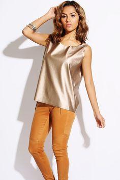 #1015store.com #fashion #style bronze metallic faux leather boxy shell tank top-$15.00