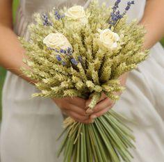 Medium cream rose and lavender wheat sheaf - a perfect vintage wedding bouquet x x