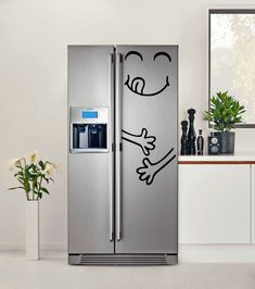 Cute Happy Yummy Face Vinyl Decal Refrigerator Fridge Sticker Furniture Art Decal Decor DIY! Free shipping! Make your Kitchen more Funny !
