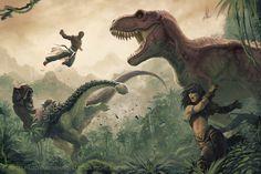 Mythic Amiri and Mythic Sajan VS Dinosaurs by Akeiron.deviantart.com on @DeviantArt