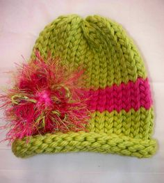 Super cute baby or toddler loom knit hat with by Blisscreation