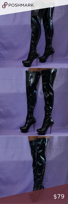 I just added this listing on Poshmark: Size 11 Black Stretchy Patent Leather Thigh Boots. #shopmycloset #poshmark #fashion #shopping #style #forsale #Pleaser #Shoes