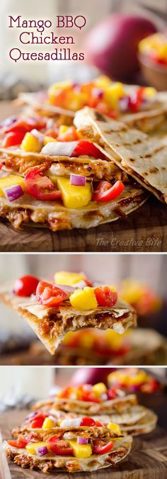Mango BBQ Chicken Quesadillas are a healthy and easy dinner idea bursting with bold flavors from homemade Mango BBQ Sauce and topped with Mango Salsa for a light and fresh twist! #Mango #Chicken #Quesadilla #Easy