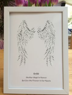 Angel wings personalised word art - fathers day or any message possible Angels In Heaven, Note Paper, Angel Wings, Word Art, Fathers Day, Arts And Crafts, Messages, Words, Frame