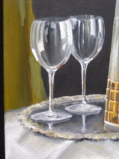 Close up of a painting I did for glass practice. Oil on canvas.