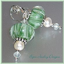 Tranquility~ Sea-Green Boro Lampwork Beads with Pearls and Aquamarine on Sterling