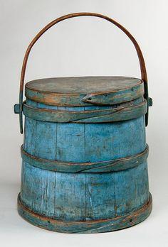 """EARLY 19TH C. FIRKIN, Pine, in original light blue, 11 1/2"""" h, 10 1/2"""" dia."""