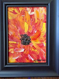 """Items similar to SHIPS FREE Original Artwork Acrylic on Canvas Textured Painting Framed 8 """"Fire Flower"""" Black frame Red Yellow Orange Impressionism Gift on Etsy"""