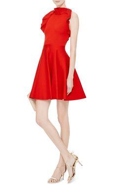 GIAMBATTISTA VALLI Ruffle-Detail Knit-Jersey Dress | moda operandi