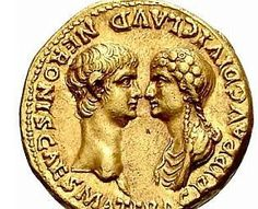 A gold coin showing Nero and his mother Ancient Roman Coins, Ancient Rome, Artemis, Roman Jewelry, Foreign Coins, Gold And Silver Coins, Gold Bullion, Rare Coins, Ancient Artifacts