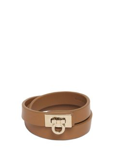 Salvatore Ferragamo – Gancini Logo Leather Double Row Bracelet